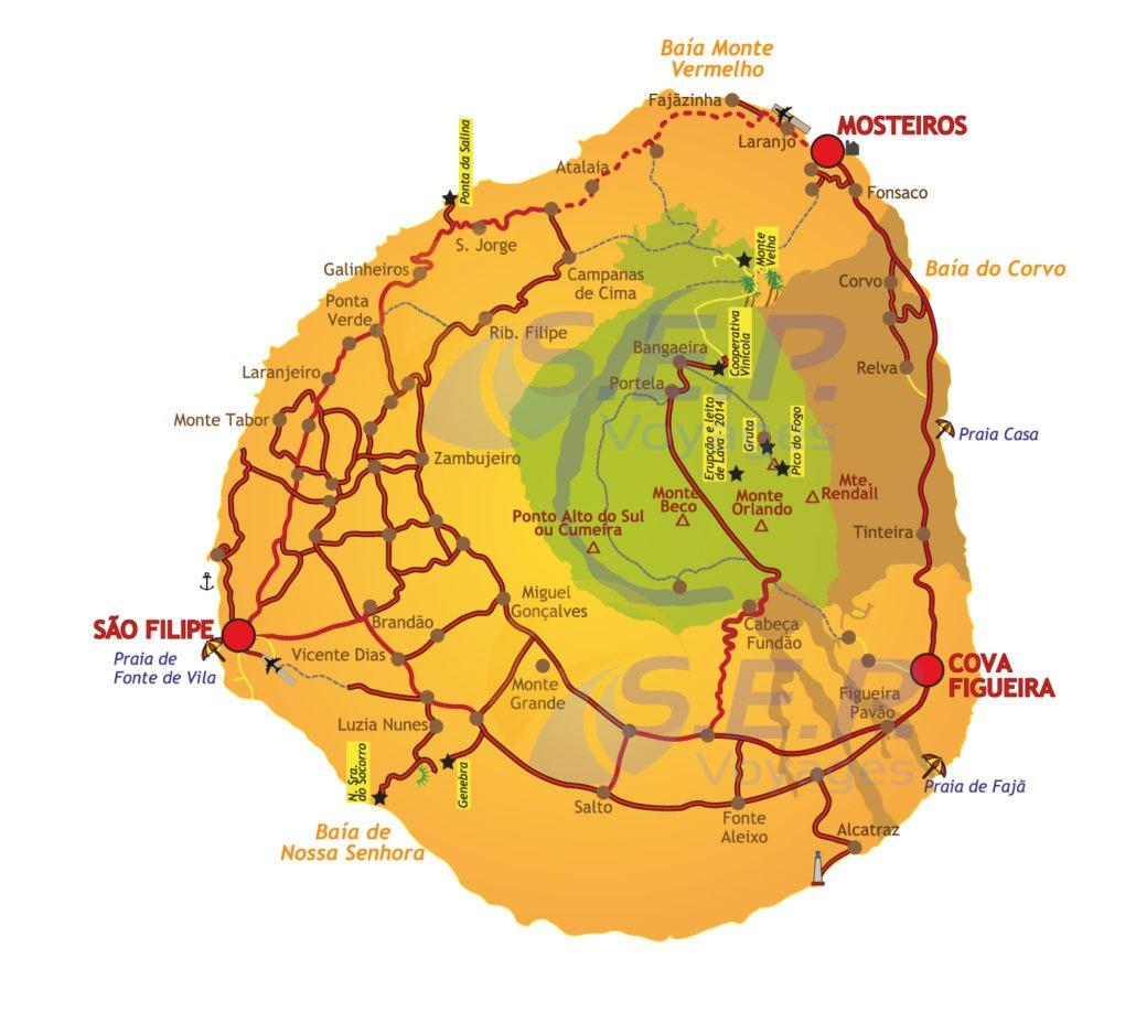 L'île de Fogo, groupe des îles sous-le-vent, tient son nom du volcan actif qui se dresse à 2829 mètres d'altitude.
